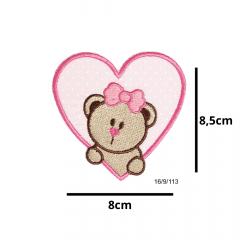 Aplique Termocolante Coração Rosa Ursa e Poá 3 Unidades Ref:16/9/113