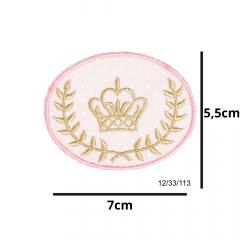 Aplique Termocolante Coroa Dourada com Rosa e Poá 3 Unidades Ref:12/33/113