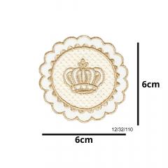 Aplique Termocolante Coroa Emblema Bege 3 Unidades Ref:12/32/110