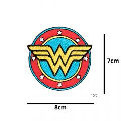 Aplique Termocolante Emblema Circular Mulher Maravilha 3 Unidades Ref:15/5