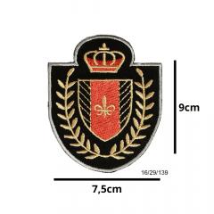 Aplique Termocolante Emblema Real Preto com Vermelho 3 Unidades Ref:16/29/139