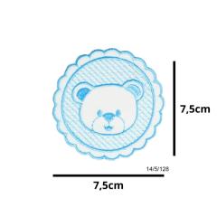 Aplique Termocolante Urso Azul 3 Unidades Ref:14/5/128