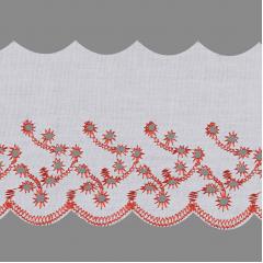 Bordado Inglês Branco Com Vermelho  BP087-075 019 7,5cm x 13,70 metros