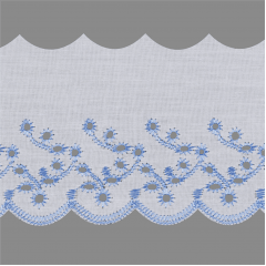 Bordado Inglês Branco Com azul  BP087-075-044 7,5cm x 13,70 metros