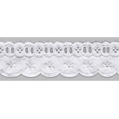 Bordado Inglês com Passa Fita Branco PP023 - 5cm x 13,70 metros