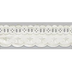 Bordado Inglês com Passa Fita marfim PP023 - 5cm x 13,70 metros