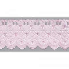 Bordado Inglês com Passa Fita Rosa PP022 - 7,5cm x 13,70 metros -