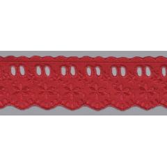 Bordado Inglês com Passa Fita vermelho   - 5cm x 13,70 metros