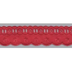 Bordado Inglês com Passa Fita vermelho PP023 - 5cm x 13,70 metros  -