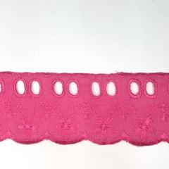 Bordado Inglês com Passa Fita Pink PP057 -008- 5cm x 13,70 metros