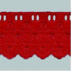 Bordado Inglês com Passa Fita Vermelho PP022 014 - 7,5cm x 13,70 metros