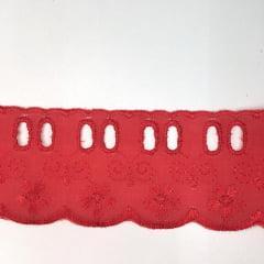 Bordado Inglês com Passa Fita Vermelho PP057 -014- 5cm x 13,70 metros