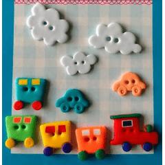 Kit Botão Patchwork Trem