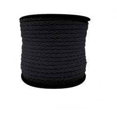 Cordão de Algodão Preto 6 mm A14 Peça 50 Mts