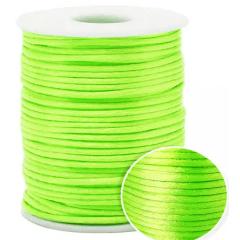 Cordão De Cetim  Verde Fluor 1 mm 100 Metros