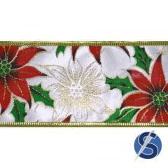 Fita Cetim Natalina Branco Floral  Aramada 10 metros