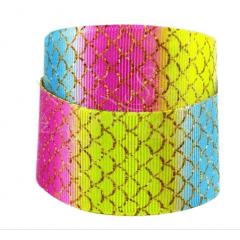 Fita Gorgurão Escama de Sereia Multicolor Gold