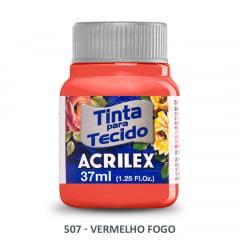 Tinta para Tecido Acrilex Fosca 507 Vermelho Fogo 37ml