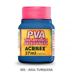 Tinta Pva Fosca para Artesanato 501 Azul Turquesa 37 ml