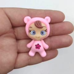 Aplique de Biscuit Menina Pijama Urso Flor Pink