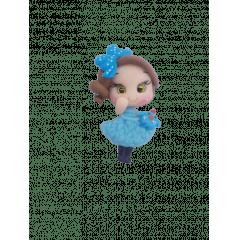 Aplique de Biscuit Menina Vestido Azul