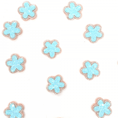 Aplique Flor Glitter Azul