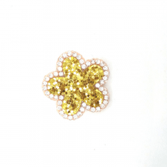 Aplique Flor Glitter Dourado