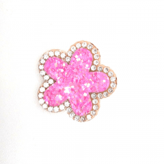 Aplique Flor Glitter Rosa