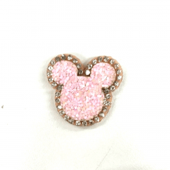 Aplique Minnie Glitter Rosa Bebê