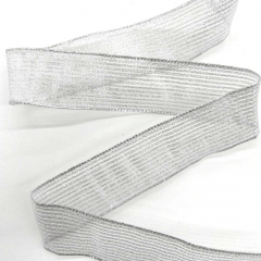 Fita Decorativa Prata Listras Aramada 36mm