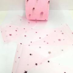 Fita Rosa Bebê Tule Estrela Pink