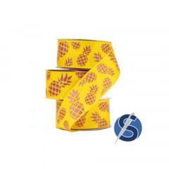 Fita Gorgurão Amarelo Abacaxi Glitter 38 mm