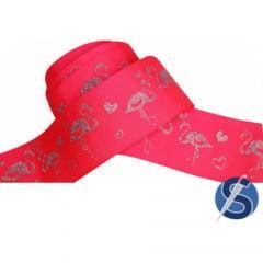 Fita Gorgurão Pink Flamingo Glitter Prata 38 mm