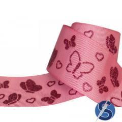 Fita Gorgurão Rosa Borboletas Glitter Pink 38 mm
