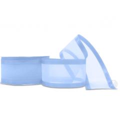 Fitas De Voal Azul Bebê Borda Cetim 38 mm