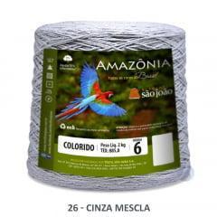Barbante São João Amazônia 26 Cinza Mescla Nº 6  2kg