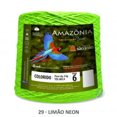 Barbante São João Amazônia 29 Limão Neon Nº 6  2kg