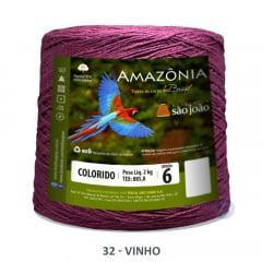 Barbante São João Amazônia 32 Vinho Nº 6  2kg