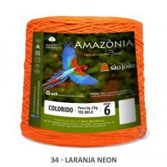 Barbante São João Amazônia 34 Laranja Neon Nº 6  2kg