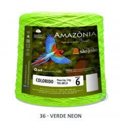 Barbante São João Amazônia 36 Verde Neon Nº 6  2kg