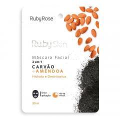 Máscara Facial De Tecido  Carvão E Amendoa Hidrata  E Desintoxica Ruby Rose
