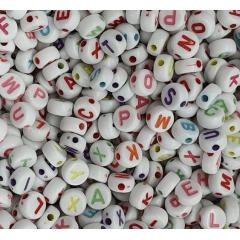Miçangas Redonda Branco Alfabeto Colorido 10 Gramas