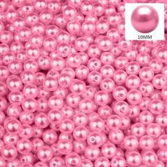 Pérola 10 mm Cor Rosa Chiclete Abs Com Furo 250 g