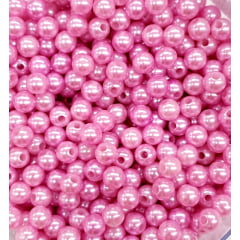 Pérola 6 mm Cor Rosa Chiclete Abs Com Furo 250 g