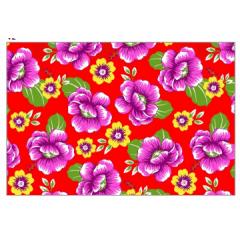 tecido Chita Vermelho Floral Rosa e Amarelo