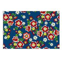 Tecido Chita Azul Marinho Flores vermelha