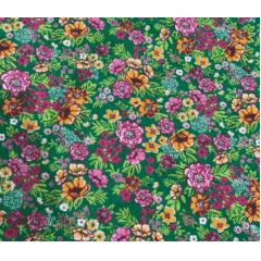 Tecido Chita Verde Flores Coloridas