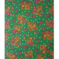 Tecido Chita Verde Floral Margaridas