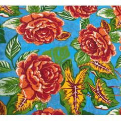 Tecido Chita Azul Flores Laranja