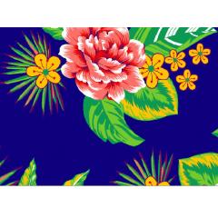 Tecido  Chita Azul Marinho Flores